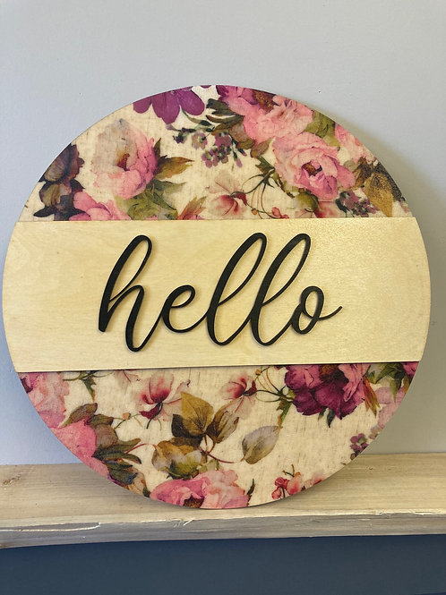 Hello, Spring Themed Wall Hanging, Pink tone