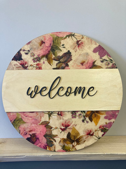 Welcome, Spring Themed Wall Hanging, Pink tone