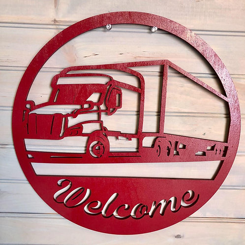 Freightliner Sign with Welcome or Family Name.
