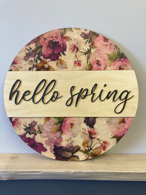 Hello Spring, Spring Themed Wall Hanging, Pink tone