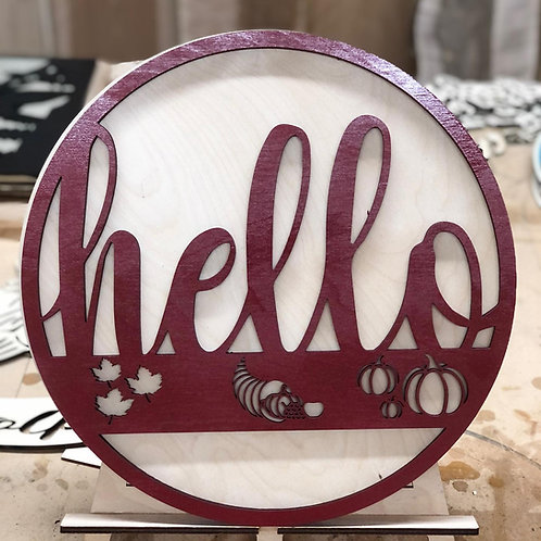 Hello Sign with Fall Images