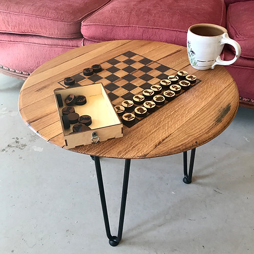 Whiskey Barrel Lid Game Table