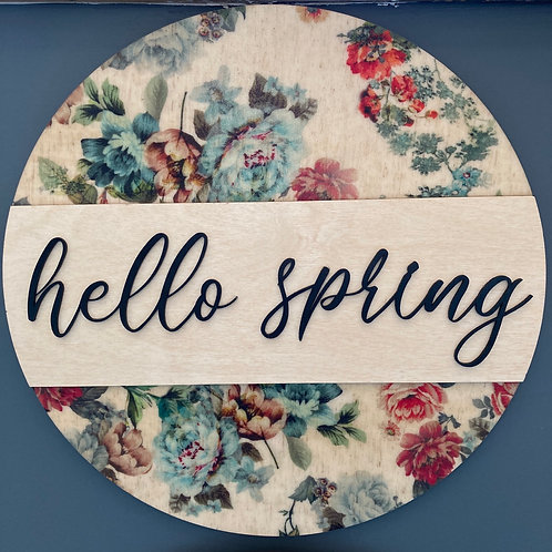 Hello Spring, Spring Themed Wall Hanging, Blue tone