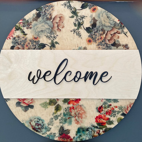 Welcome, Spring Themed Wall Hanging, Blue tone