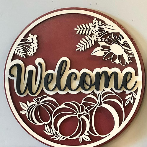"""Fall """"Welcome"""" sign in non-traditional colors."""