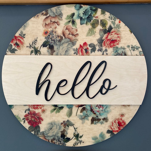 Hello, Spring Themed Wall Hanging, Blue tone
