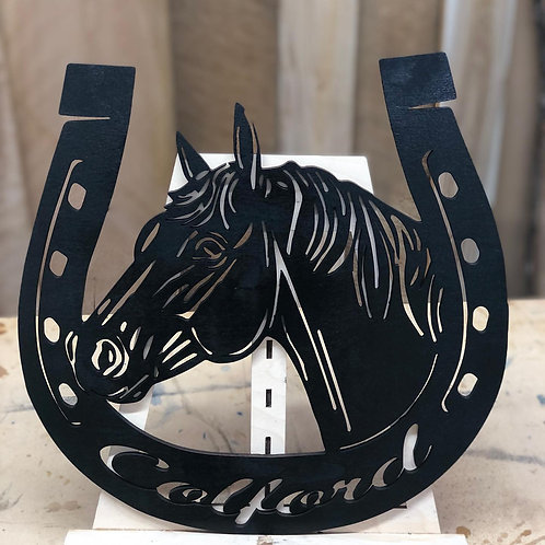 Welcome or Family Name Horse Sign