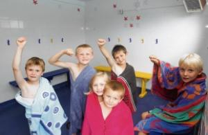 Children Cheer On New Changing Room