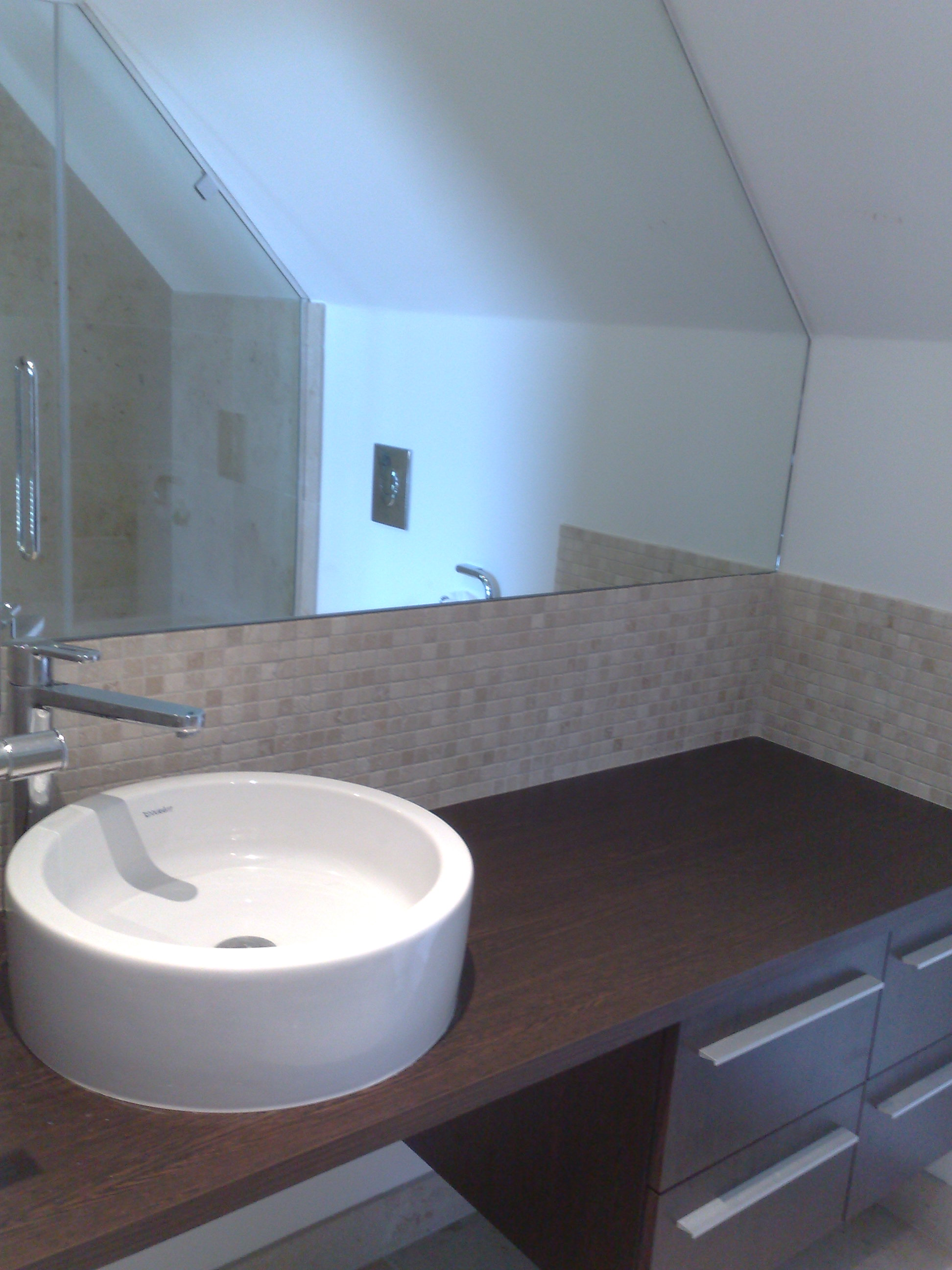 Countertop Basin and Bespoke Mirror.