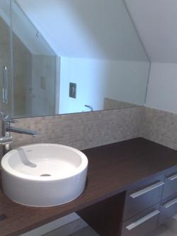 Countertop Basin and Bespoke Mirror.