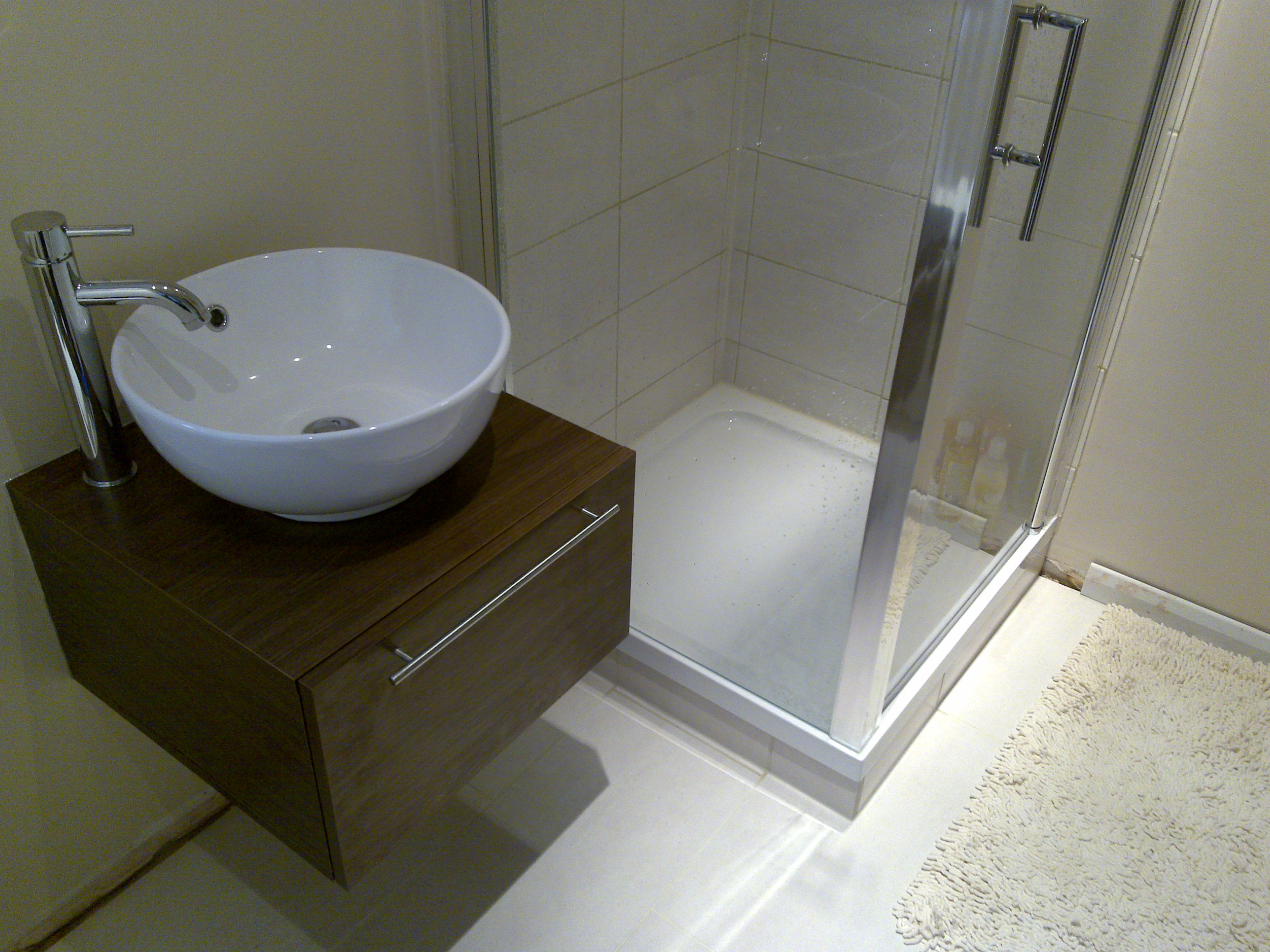 Counter Top Basin & Shower Cubicle.