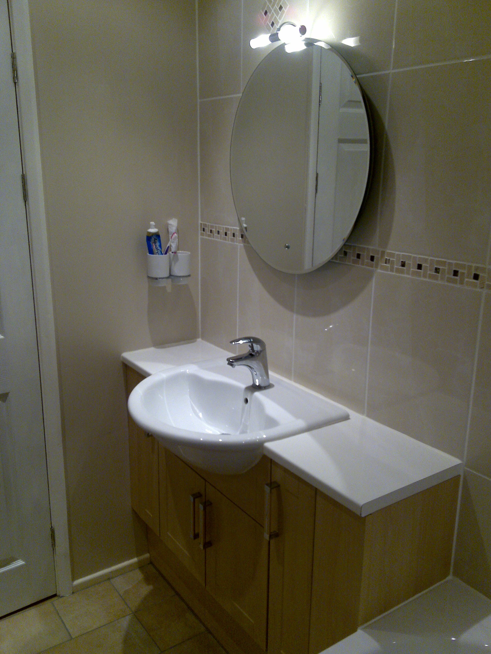 Inset Basin into Fitted Unit.