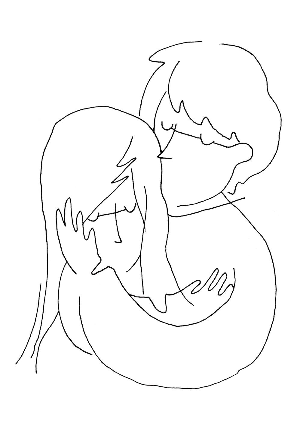 抱きしめる