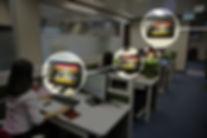 Multiple desktops and a digital sign dis