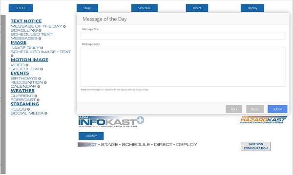 InfoKast user interface