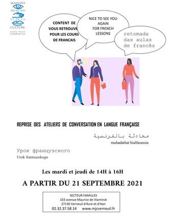 Reprise des ateliers de conversation en langue française le mardi 21 septembre