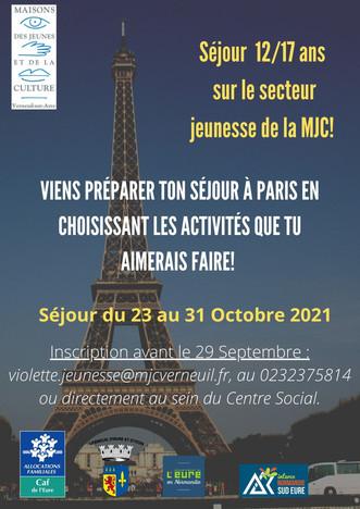 Séjour culturel du secteur jeunesse à Paris du 23 au 31 octobre