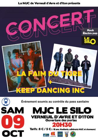 Concert pop rock electro au Silo avec La Faim du Tigre et Keep Dancing Inc, le samedi 09 octobre
