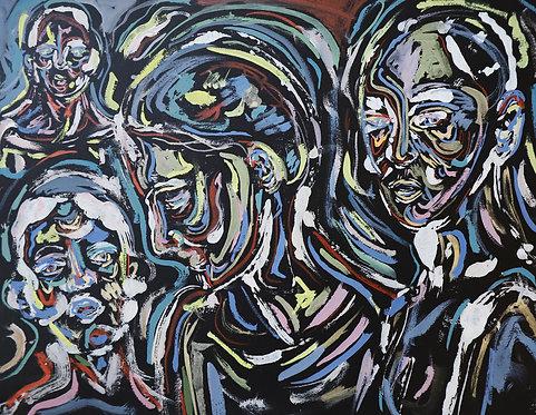 """""""Faces in the Shadows"""" Original 12x9 Watercolor"""