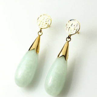 Jade and gold teardrops