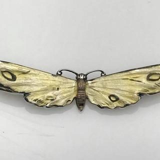 Vintage cloisonne sterling silver butterfly