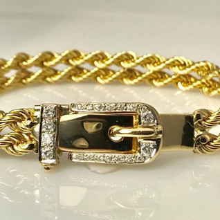 14k gold and diamond belt bracelet