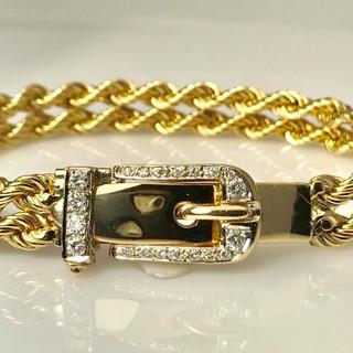 14k gold and diamond belt bracelet