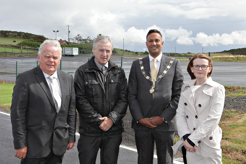 At the site of the proposed Merrow Hotel the Causeway Chamber of Commerce President Anthony Newman meeting with local MLA's John Dallat, Maurice Bradley and Caoimhe Archibald to discuss issues with planning and the barriers to economic growth