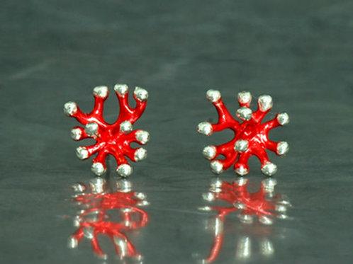 Pendientes plata y acabado en tono rojo