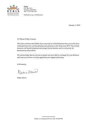 2019 In Kind Letter