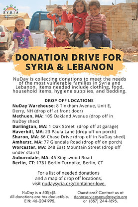 Donation Drive for Syria and Lebanon