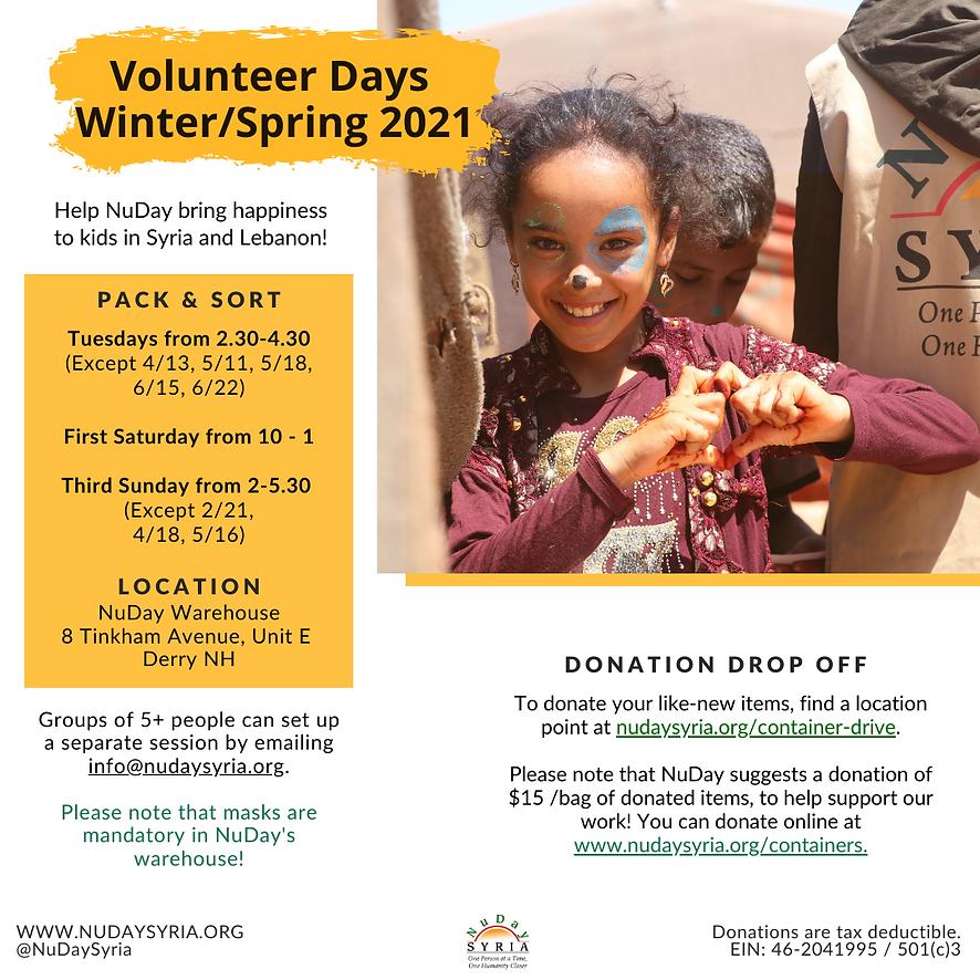 Volunteer Days, Winter/Spring 2021