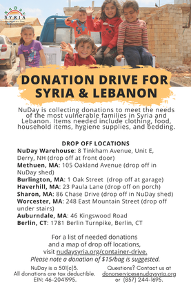 NuDay Donation Drive for Syria & Lebanon