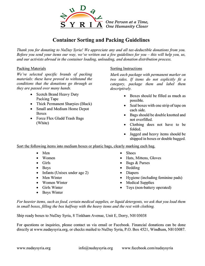 Container Sorting and Packing Guidelines