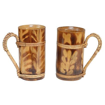Novelty Cane Art Natural Eco-Friendly Bamboo Medium Size Bamboo Mug - Set of 2