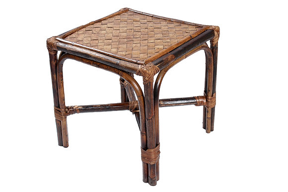 Novelty Cane Art Rattan and Wicker Cane Wood Bamboo Square Pouffe Stool Muda