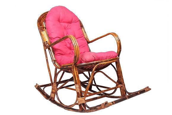 Novelty Cane Art Rattan Modern Rocking Arm Chair with Cushion