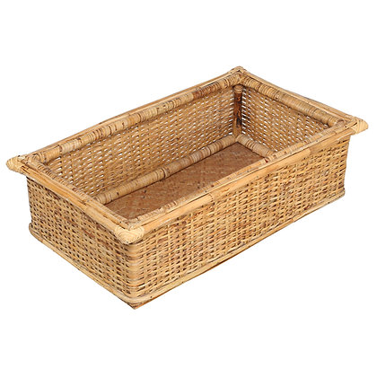 Novelty Cane Art Handmade Natural Bamboo Storage Basket Bin for Kitchen