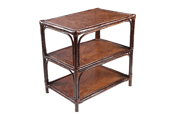Novelty Cane Art Rattan Rectangular Table with Shelves/Side Table:ST13AM12X18REC