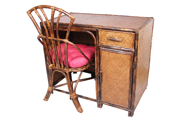 Novelty Cane Art Writing Table and Chair Set with Cushion