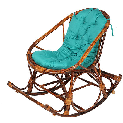 Novelty Cane Art Handmade Rattan Cane Wooden Rocking Chair with Cushion