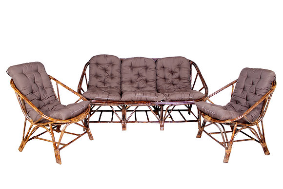 Novelty Cane Art Living Room 5 Seater Rattan Sofa Set With Cushion