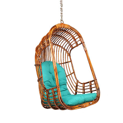 Novelty Cane Art Rattan Cane Bamboo Swing Chair with Inclusive Cushion for Home