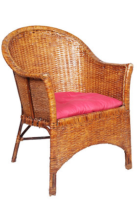 Novelty Cane Art Wicker Vintage Styled Arm Chair With Cushion
