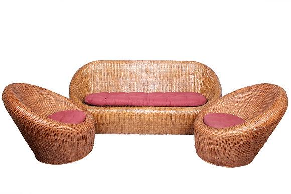 Novelty Cane Art 5 Seater Wicker Round Sofa Set with Cushion