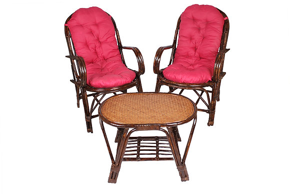 Novelty Cane Art Rattan Oval Table and Chair Set