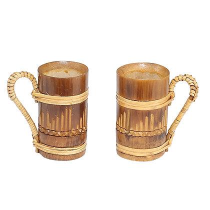 Novelty Cane Art Natural Eco-Friendly Bamboo Small Size Bamboo Mug - Set of 2