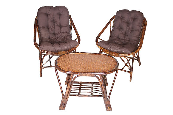 Novelty Cane Art Rattan Unique Living Room Chair with Table and Cushion