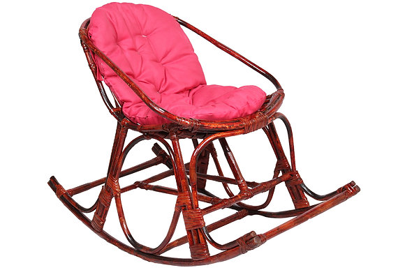 Novelty Cane Art Contemporary Rattan Rocking Arm Chair with Cushion (Compact)
