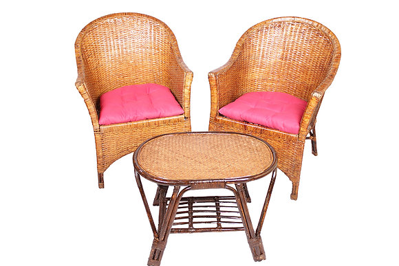 Novelty Cane Art Wicker vintage styled Arm Chair with Table and cushion